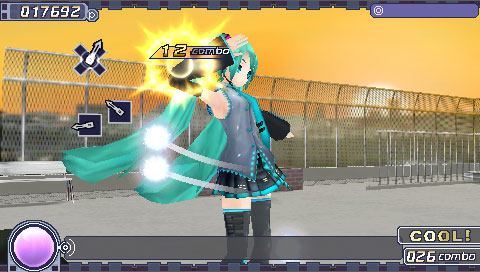 And now Miku's singing on the rooftop of a school? This game keeps getting better and better...