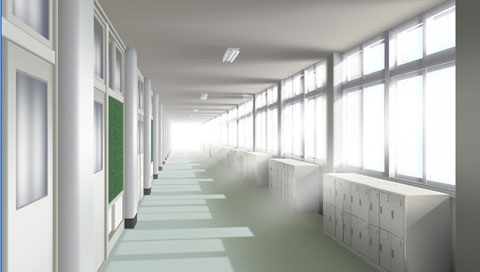 Here's the school corridor... Ugh, I really can't wait much longer for this game! DX